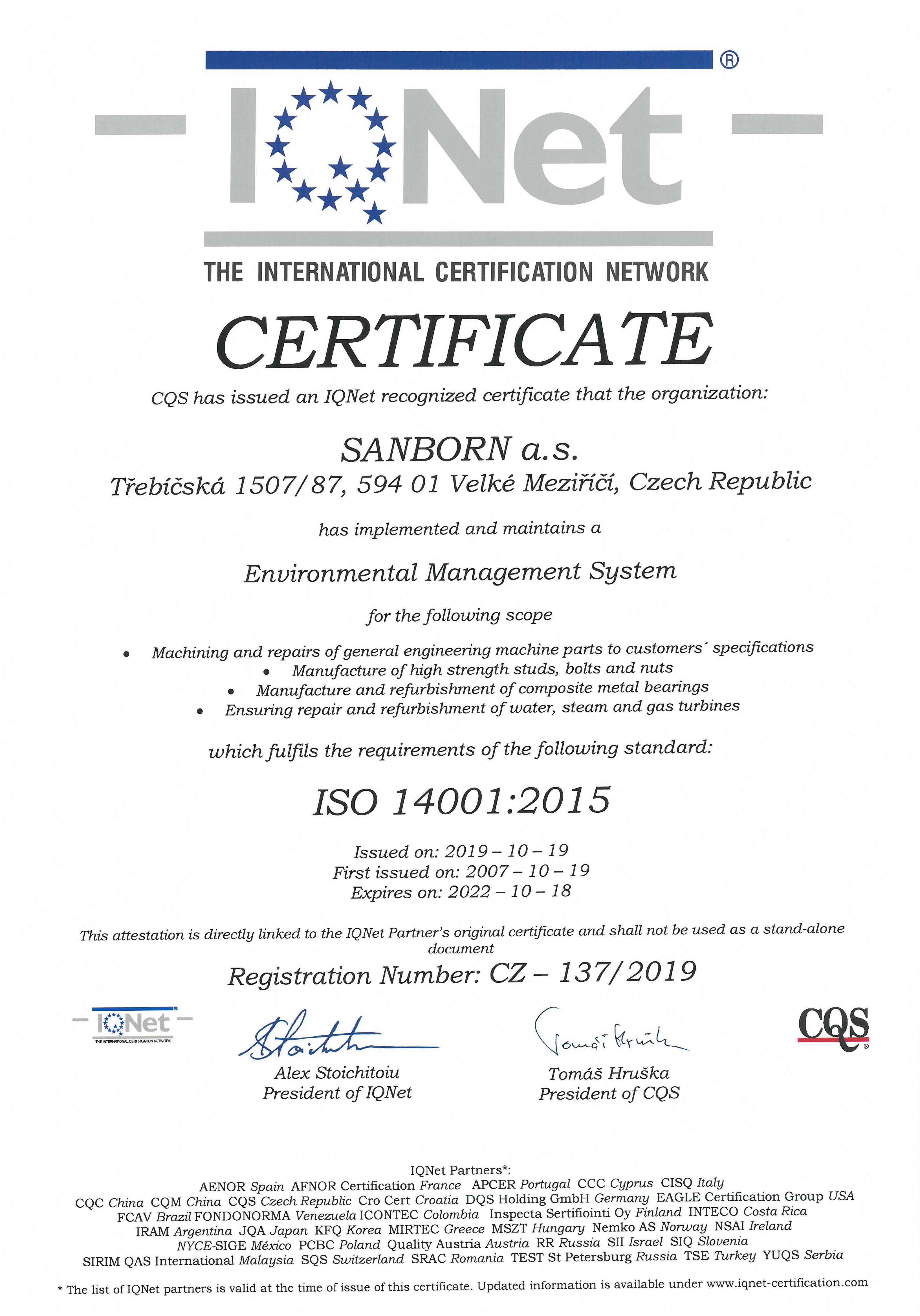 Certificate-14001-IQNET-validity-18